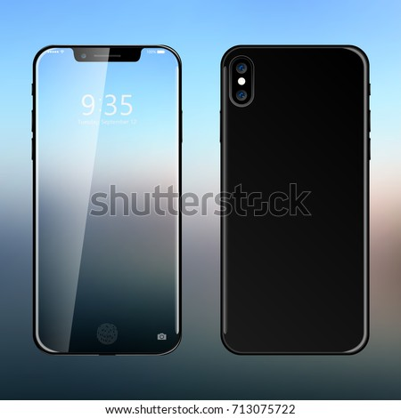 Realistic modern new smartphone design concept. Vector object mockup illustration