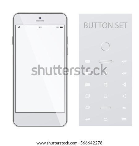 Realistic modern phone, mock up, isolated on white background. Modern white touchscreen cellphone tablet smartphone isolated.