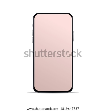 Realistic, modern, smart phone collection with bronze screen on isolated background.