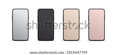 Realistic, modern, smart phone collection with grey, black, gold, bronze screen on isolated background. ストックフォト ©