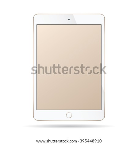 Realistic modern smart tablet ipad illustration with gold color isolated.