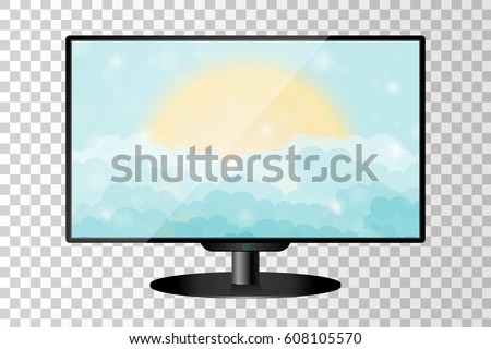 realistic modern tv monitor