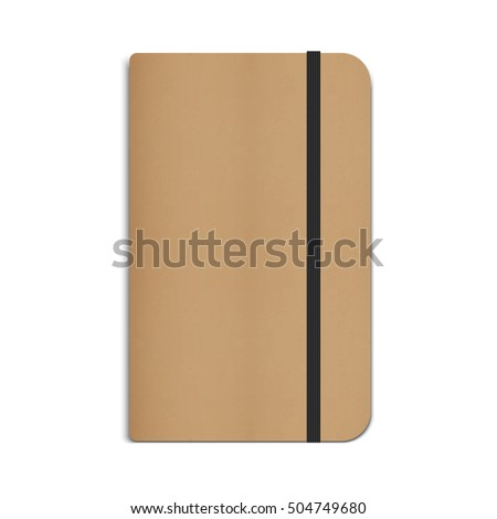 Realistic Moleskin Notebook, Diary, Planner with Black Elastic Band. Vector