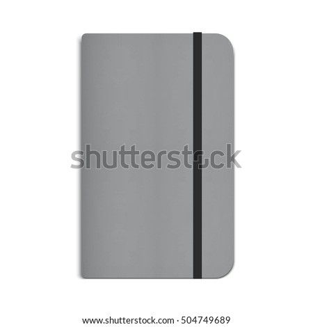 Realistic Moleskin Notebook, Diary with Black Elastic Band. Vector