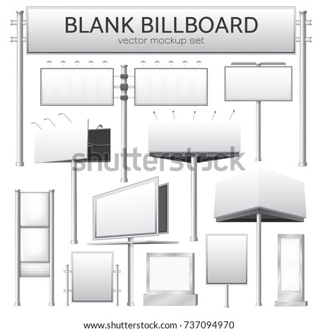 Realistic monochrome set of blank city rectangular billboard mockup for outdoor advertising banners or design isolated vector illustration  - Shutterstock ID 737094970