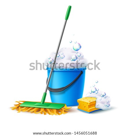 Realistic mop, sponge and bucket full of soapy foam with colorful bubbles. Floor mopping concept for housework design. Vector cleaning service banner. Domestic hygiene household chores 3d poster. Stock foto ©