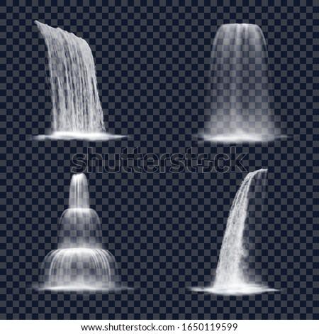 realistic mountain waterfall on