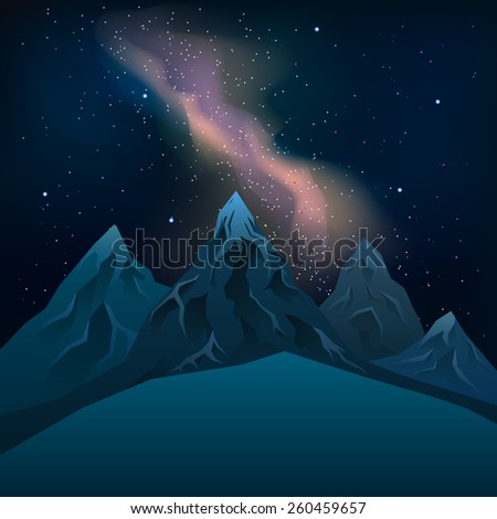 realistic mountains at night