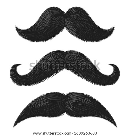 Realistic moustaches. Black mustache facial hair style, barbershop gentleman hipster fashion, fathers day decorative vector elements Stock foto ©