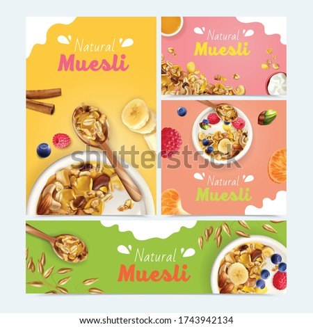 Realistic muesli set with banners of different size and orientation with food images and ornate text vector illustration Foto stock ©