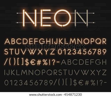 Realistic neon alphabet. Bright neon glowing font. Vector format