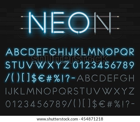 realistic neon alphabet on a