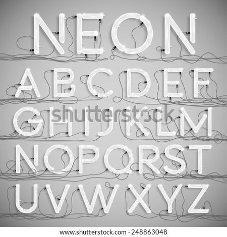 realistic neon alphabet with