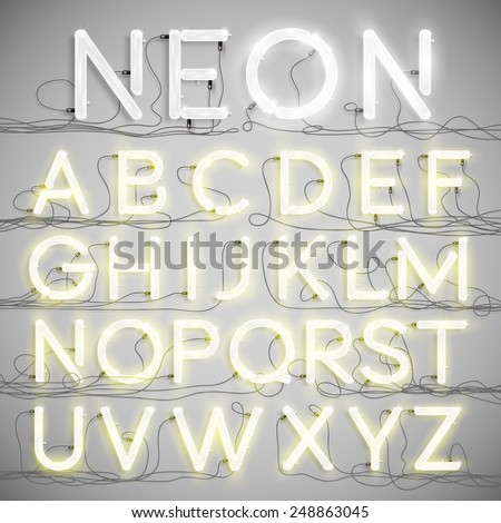 Shutterstock Realistic neon alphabet with wires (ON), vector