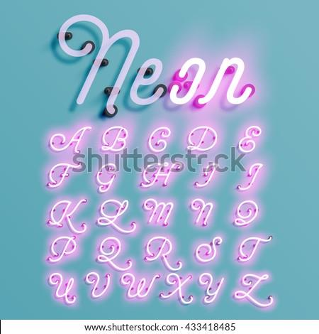 realistic neon character