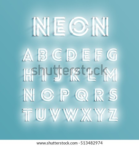Realistic neon character typeset, vector