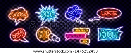 Realistic neon expression comic bubbles. Retro elements set with glowing neon tubes on transparent background. Text Wow, Pow, Hello, LOL, SALE, OMG. Vector illustration vintage design, pop art style