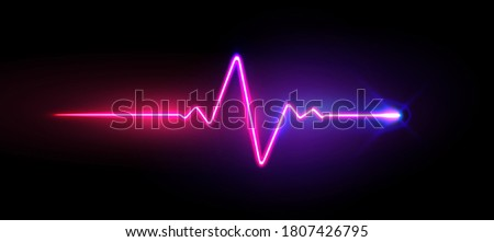 Realistic neon/laser heartrate sign with glows, vector illustration