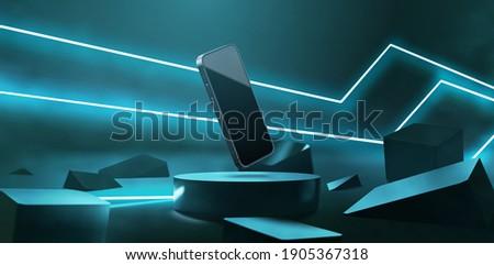 Realistic neon podium scene for product display or presentation. Futuristic neon laser beam light illustration vector. 3d modern smartphone mockup