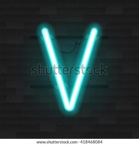 realistic neon tube alphabet
