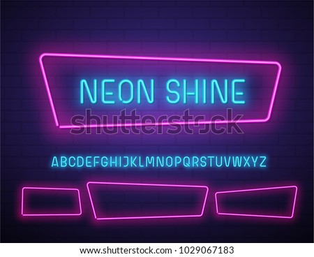 Realistic neon vector font on brick wall.