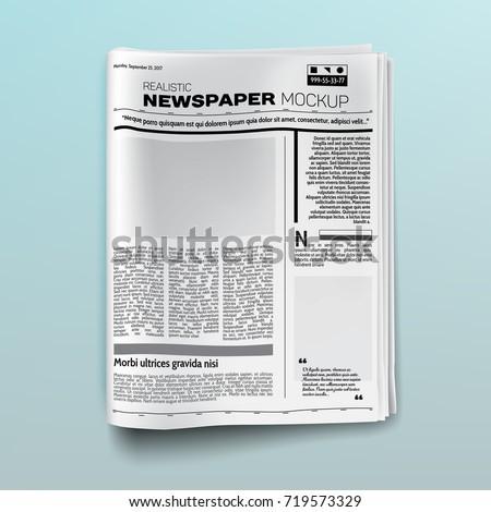 Realistic newspaper (magazine) mockup (template). Vector illustration