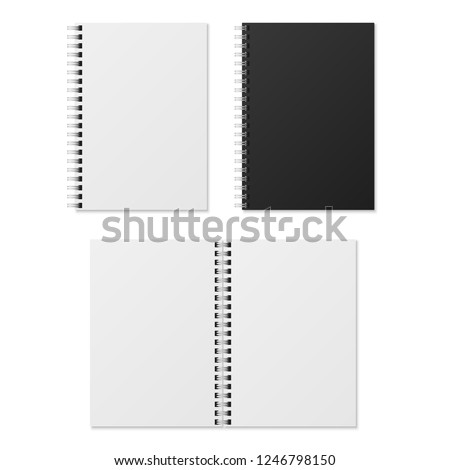 Realistic notebook. Blank open and closed spiral binder notebooks. Black and white paper organizers and diary vector template isolated