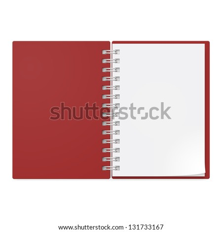 Realistic notebook. Illustration on white background design.