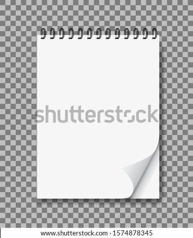 Realistic notebook in mockup style. Blank notepad with spiral and curled corner. Template empty notepad on isolated background. Note page for office, memo. Paper diary with binder for school. vector