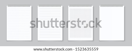 Realistic notebooks sheets. Lined, checkered and dots paper binder page for memo pads . Vector isolated illustration template notepad empty paper with binder iron spiral on gray background