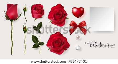 realistic of red roses 5 styles