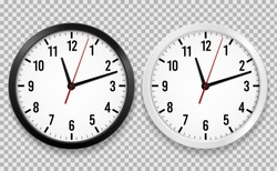 Realistic office clock. Wall round watches with time arrows and clock face isolated 3d vector black and white clocks on transparency background