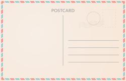 Realistic old postcard illustration red and blue borderline