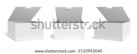 Realistic open box mockup. White packaging gift boxes, opened package and empty rectangular packages vector template set. Square paper parcel, medical case cardboard isolated cliparts collection