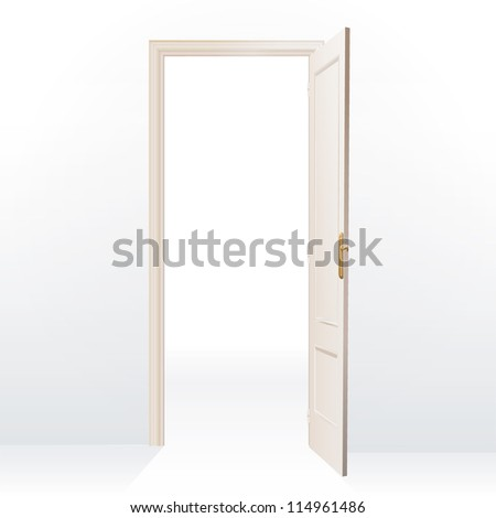 Realistic open door on white background. Vector design.