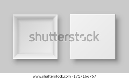 Realistic open empty gift box two view. Paper square cardboard white container mockup. Blank package model for wrapped product, present, surprise delivery. Object isolated on grey background