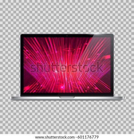 Realistic Open Laptop (Notebook) with Power On Screen Isolated on Background. Can Use for Template, Project, Presentation or Banner. Electronic Gadgets, Device Set Mock Up. Vector Illustration.