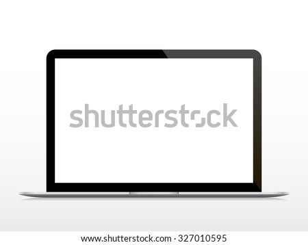 Realistic open laptop with blank screen isolated on white background. Vector illustration. Stock fotó ©
