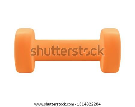 realistic orange dumbbell for fitness equipment