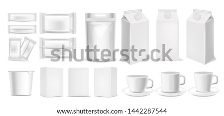 Realistic packages 3d, big set packaging isolated for white background, chocolate package, flexible bag, milk box, yogurt box and coffee cups, white objects vector illustration