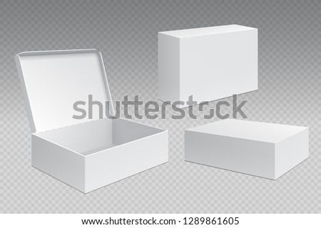 Realistic packaging boxes. White open cardboard pack, blank merchandising products mock up. Carton square container vector template