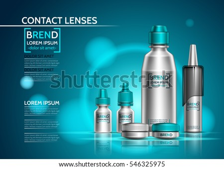 Realistic packaging for contact lenses. Design a set of bottles for cosmetics. Vector illustration on shining turquoise background #546325975