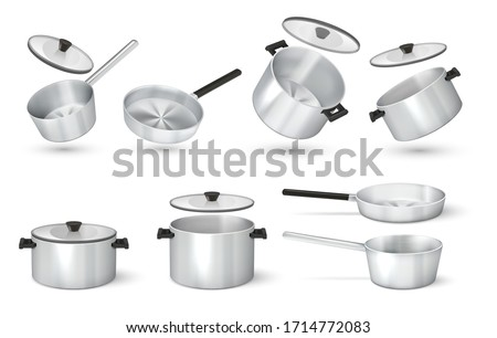 Realistic pan. Steel cooking pots with cape, metal saucepan and skillet, isolated cookware. Vector image 3D aluminum frying pan and kitchen utensil Foto stock ©