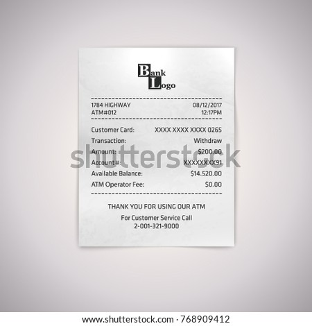 Realistic paper ATM receipt. Vector atm bill on white background