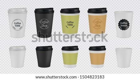 Realistic paper coffee cup. Disposable plastic and paper coffee mugs mockup. 3D vector illustration colorful isolated templates tea cups with lid on transparent background