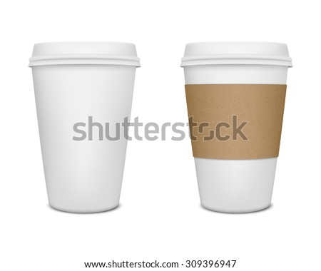 realistic paper coffee cup set