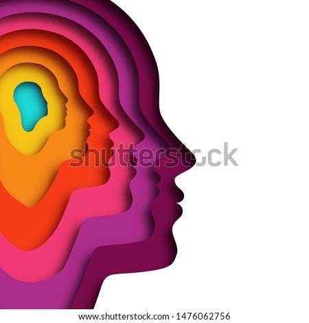 Realistic paper cut layered human head. Colorful papercut man silhouette on isolated background for personality or psychology concept.