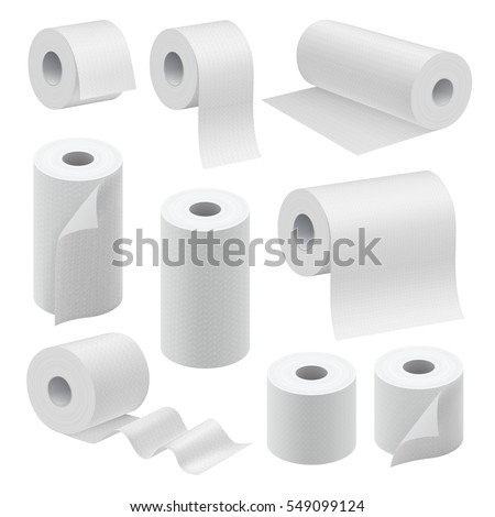 Realistic paper roll mock up set isolated on white background vector illustration. Blank white 3d packaging kitchen towel, toilet paper roll, cash register tape, thermal fax roll. Paper roll template ストックフォト ©