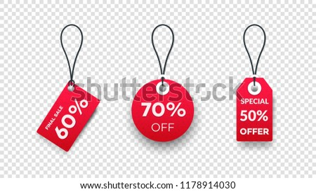 Realistic Paper Sale Tags. Set Of Vector Sale Labels Isolated On Transparent Background. Vector Design Elements. #1178914030