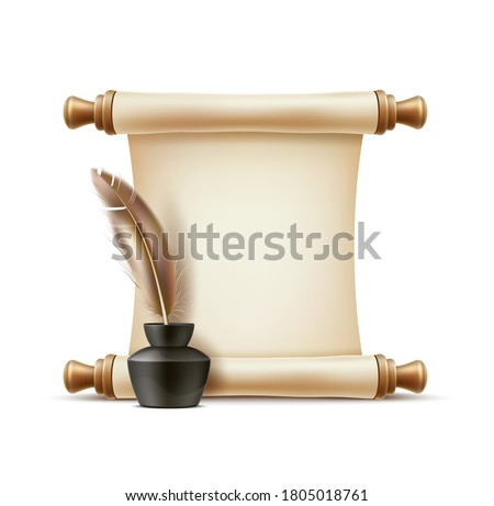 Realistic paper scroll and feather quill pen in ink bottle. Vector 3d curled document and goose nib in inkwell. Old-fashioned document, plume pen, symbol of education, poetry and graduation.